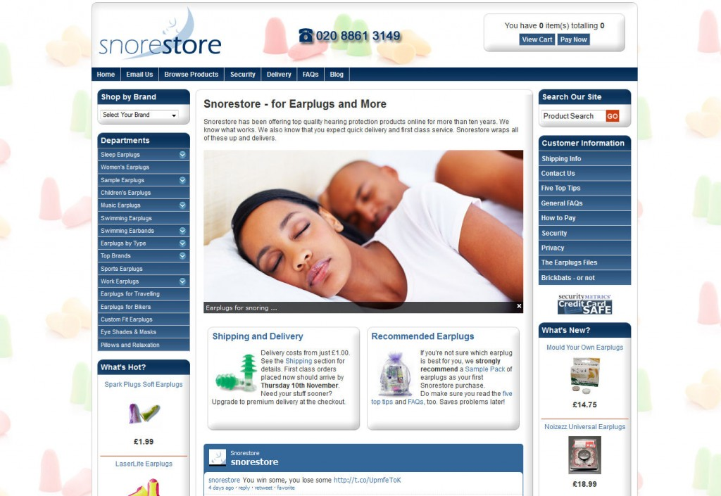 Screenshot of Snorestore home page November 2011