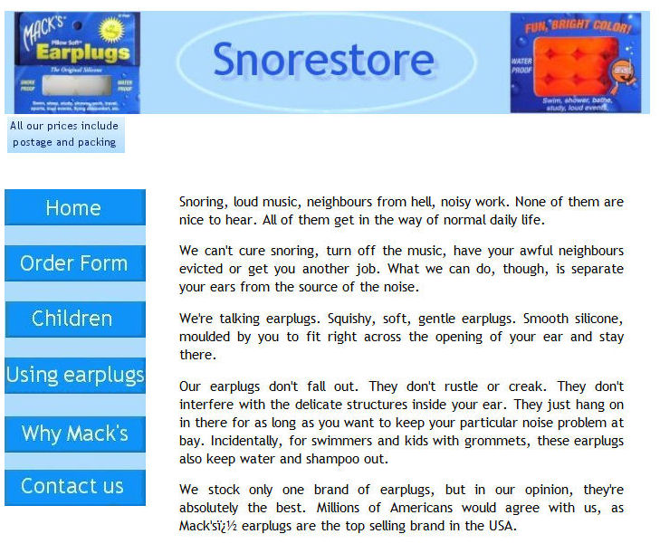 Screenshot of Snorestore original home page 2001